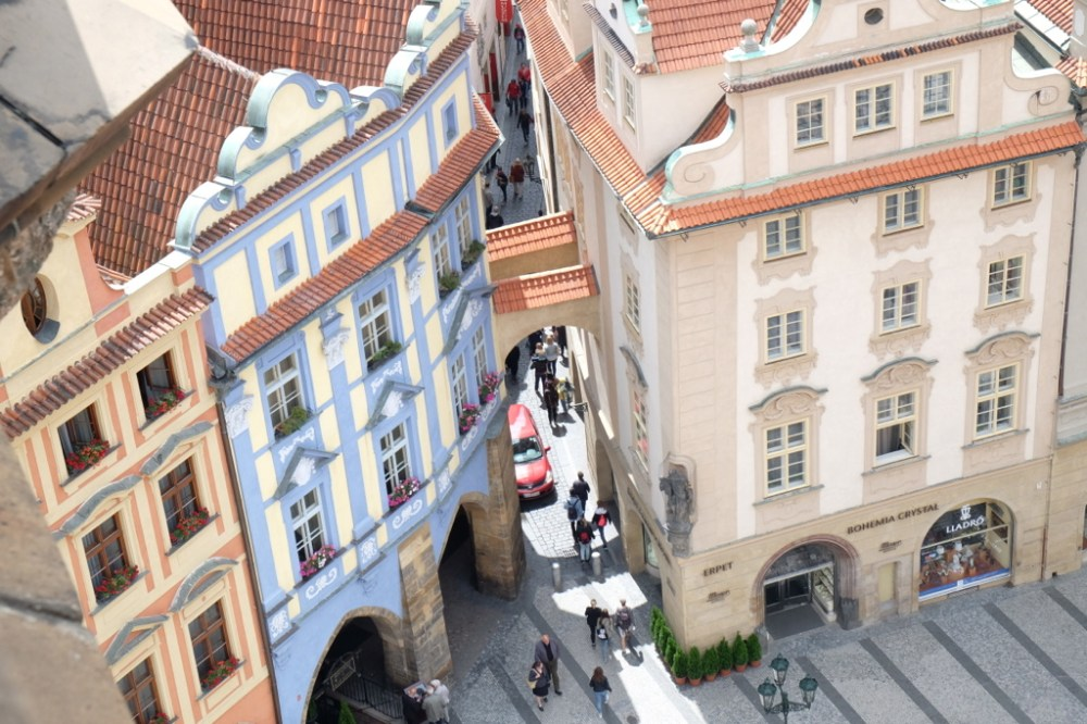 Offbeat Prague: Birds eye view of people below from the Astronomical Clock