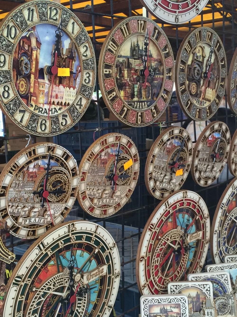 Offbeat Prague: Funky souvenir clocks at the Havelska souvenir market