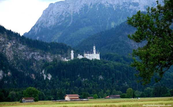 View of Neuschwanstein Castle while driving through Bavarian Alps