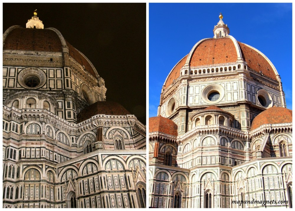 Florence duomo roof by day and night