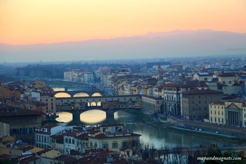 Ponte Vecchio views at sunset