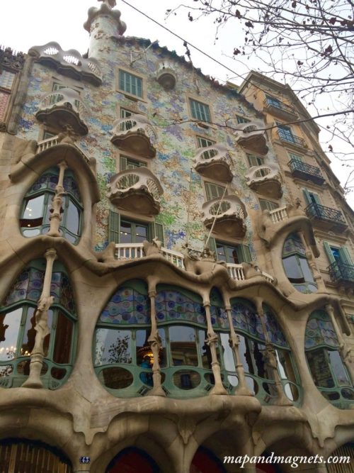 Funky exterior of the Casa Battlo in Barcelona designed by Gaudi
