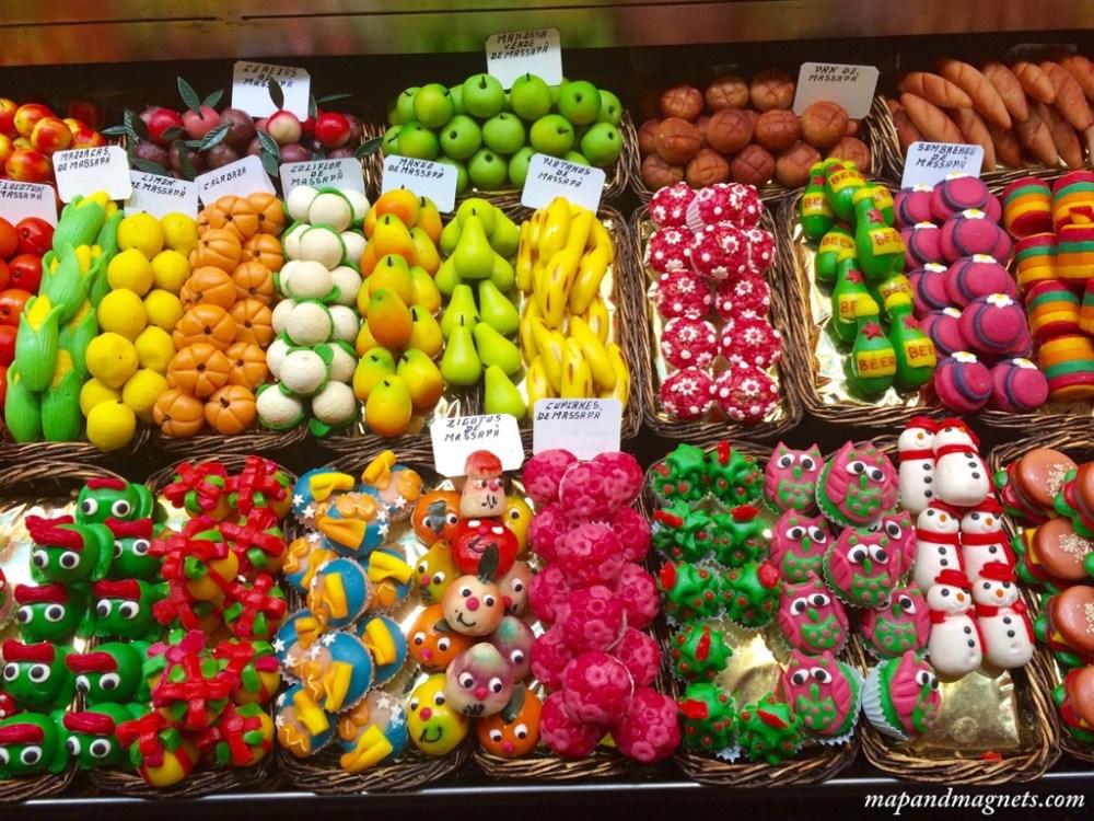 Colorful candy at La Boqueria market in Barcelona