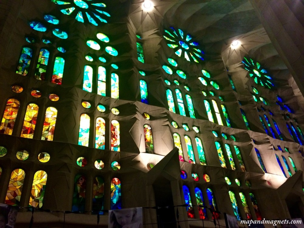 Multicolored stainglass windows in the Sagrada Familia in Barcelona