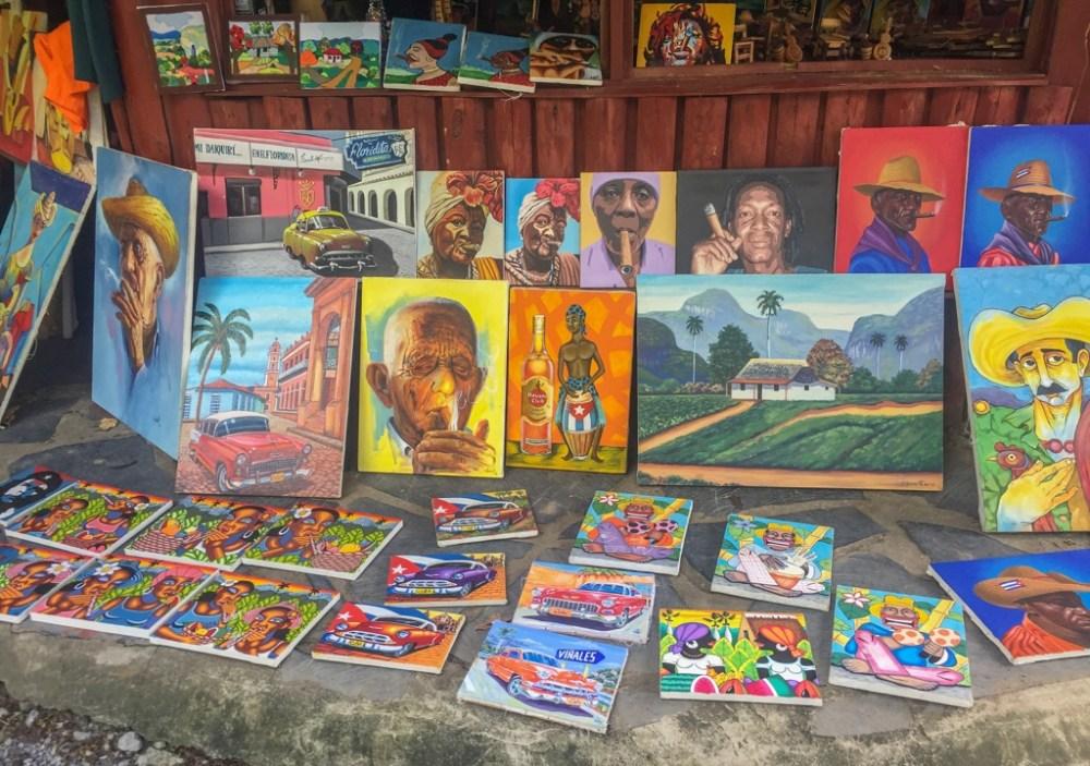 Souvenir store selling paintings in Havana Cuba