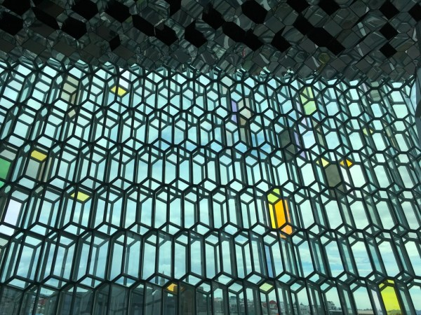 Glass facade of the Harpa Concert Hall in Reykjavik