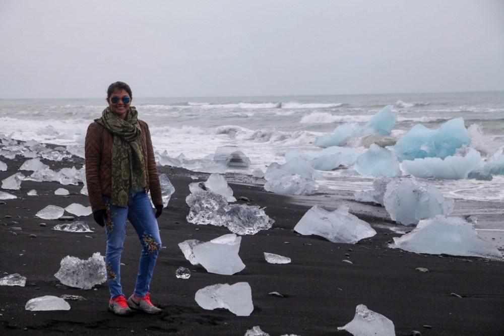 Self portrait at Diamond Beach in Iceland