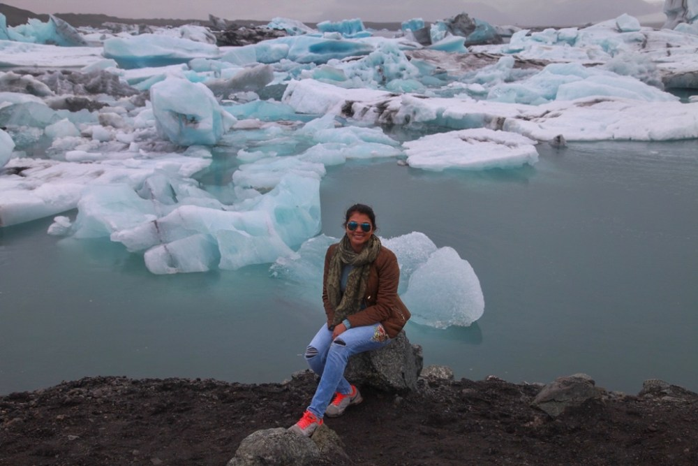 Self portrait at Jokulsarlon glacier lagoon in Iceland
