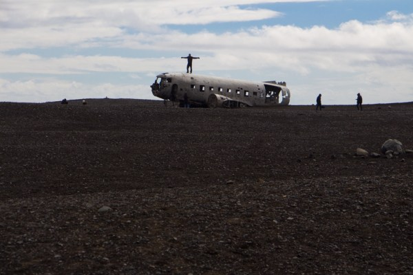 Airplane wreck silhouette in Iceland