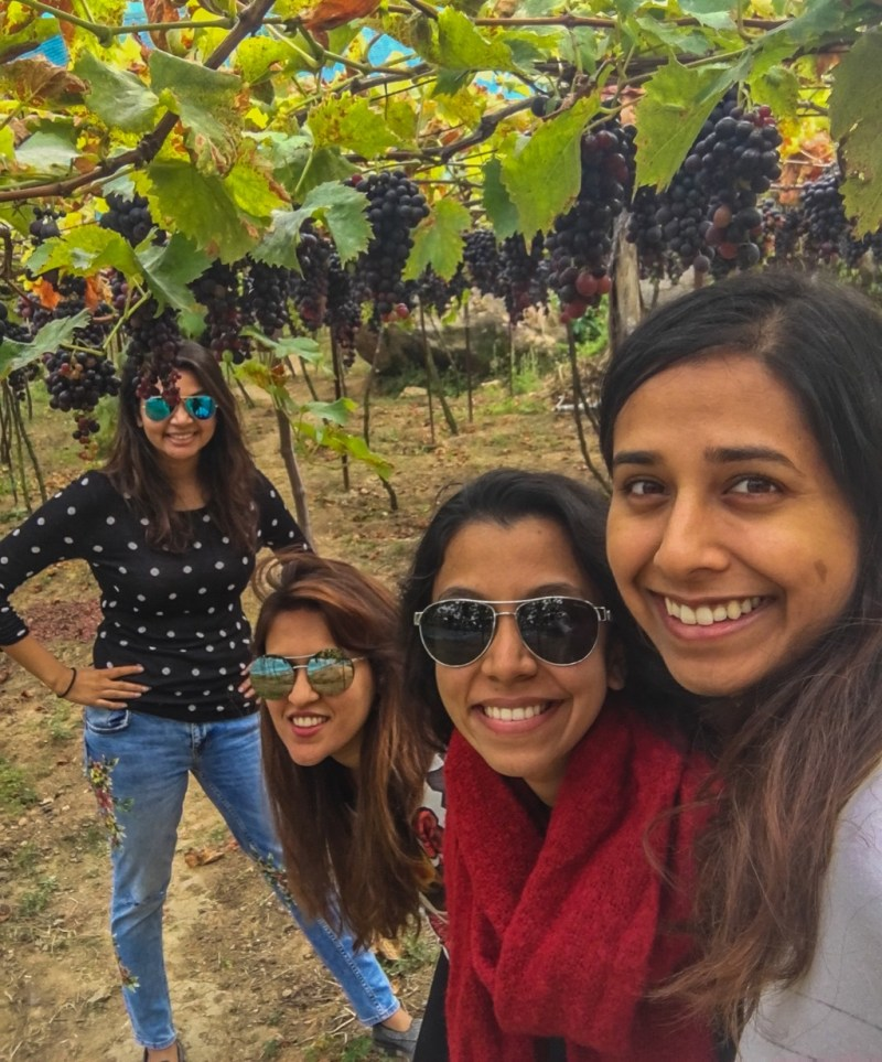 Hanging out with my girlfriends in the vineyards in Nilgiris