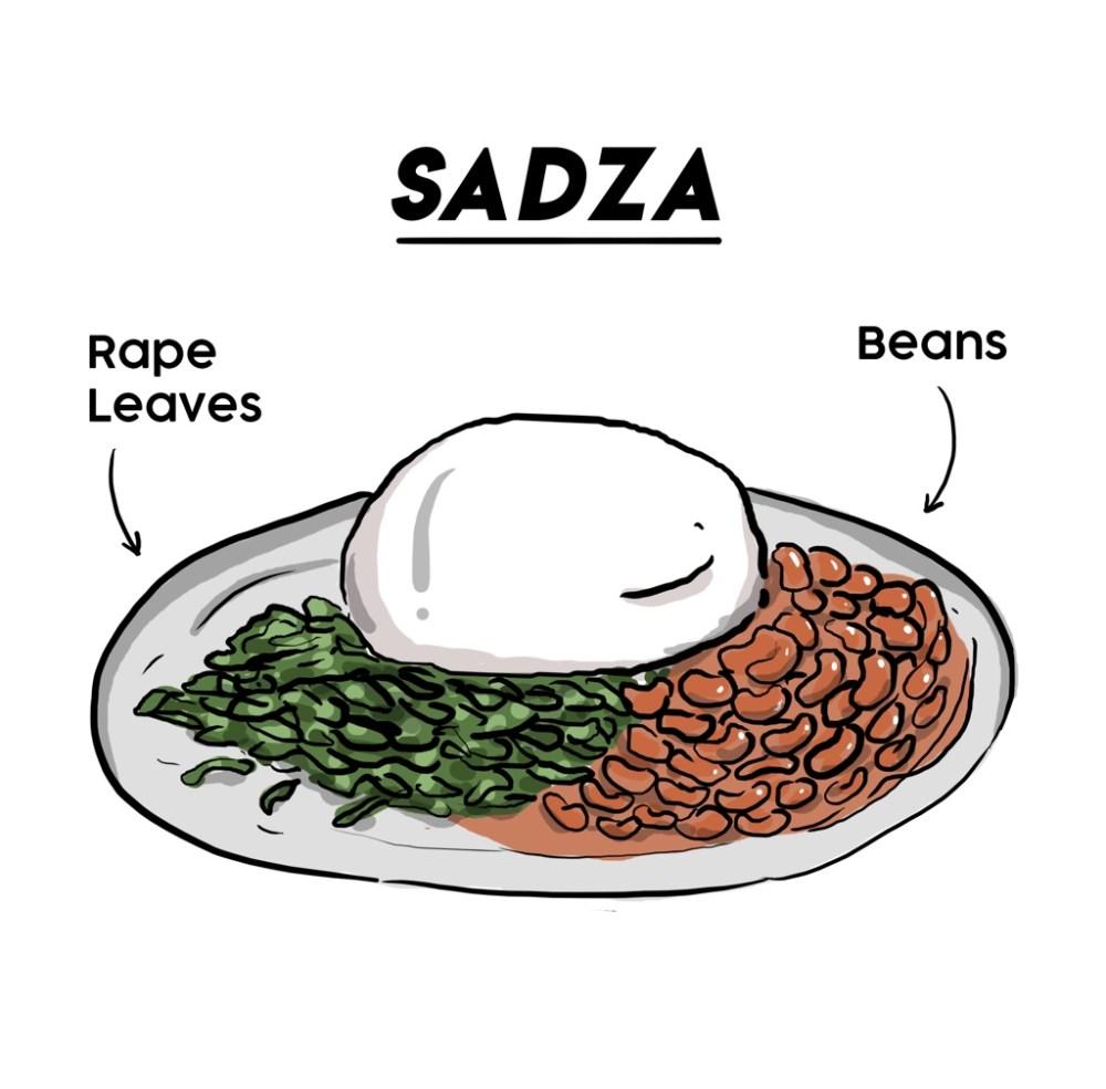 Illustration of vegetarian Sadza in Zimbabwe