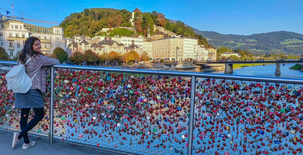 Me on the love lock bridge at Salzburg, overlooking the river