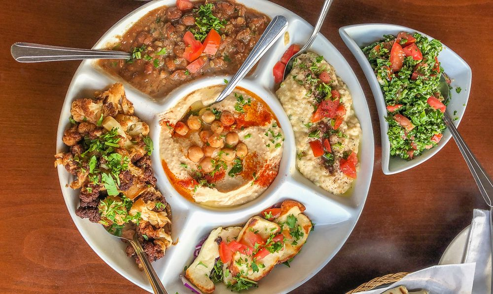 Vegetarian Middle Eastern mezze platter in San Francisco