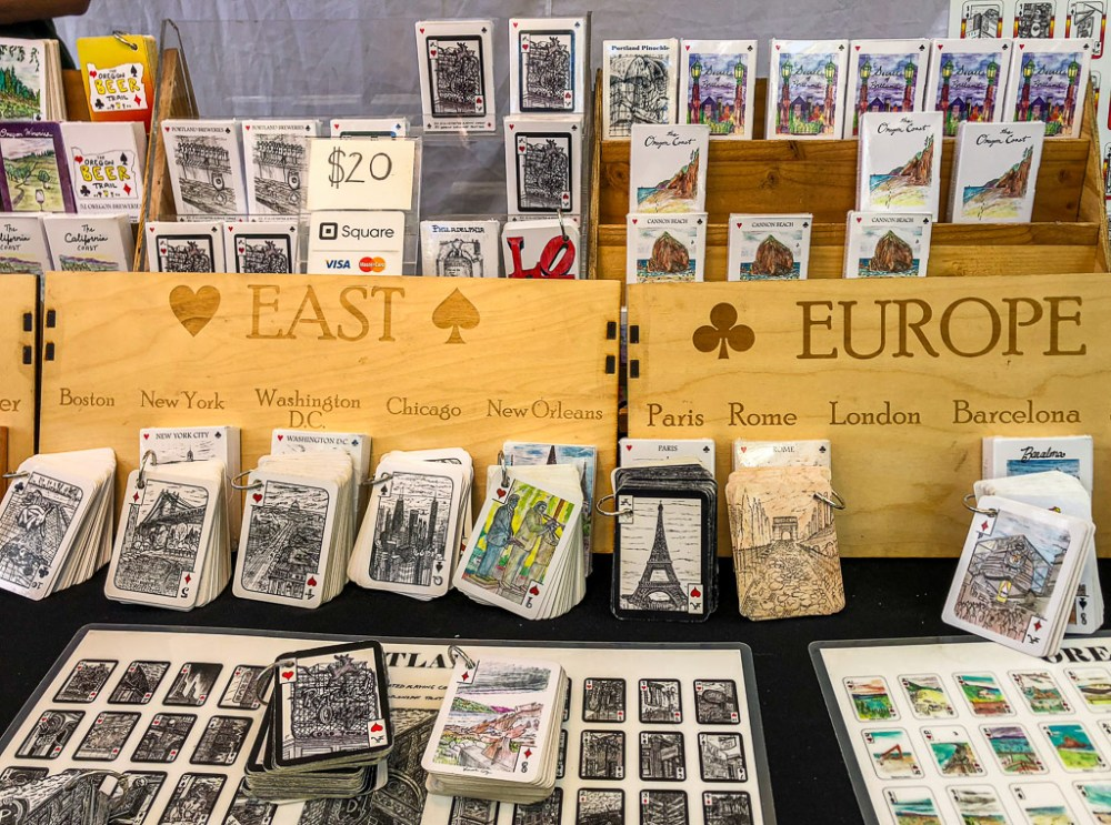 Illustrated playing cards at Portland Saturday Market