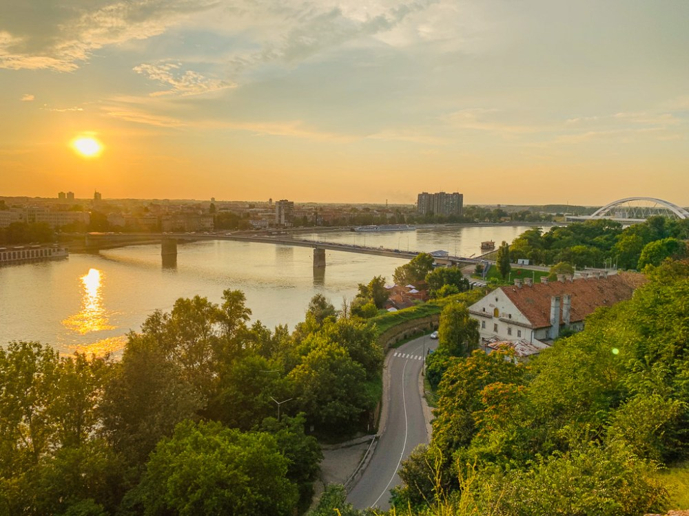 Sunset from the Petrovaradin Fortress in Novi Sad Serbia