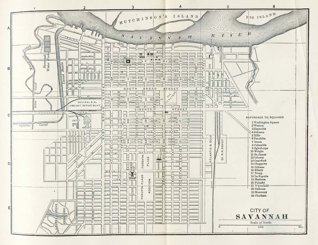 Map of Savannah City Map, Georgia, United States 1885