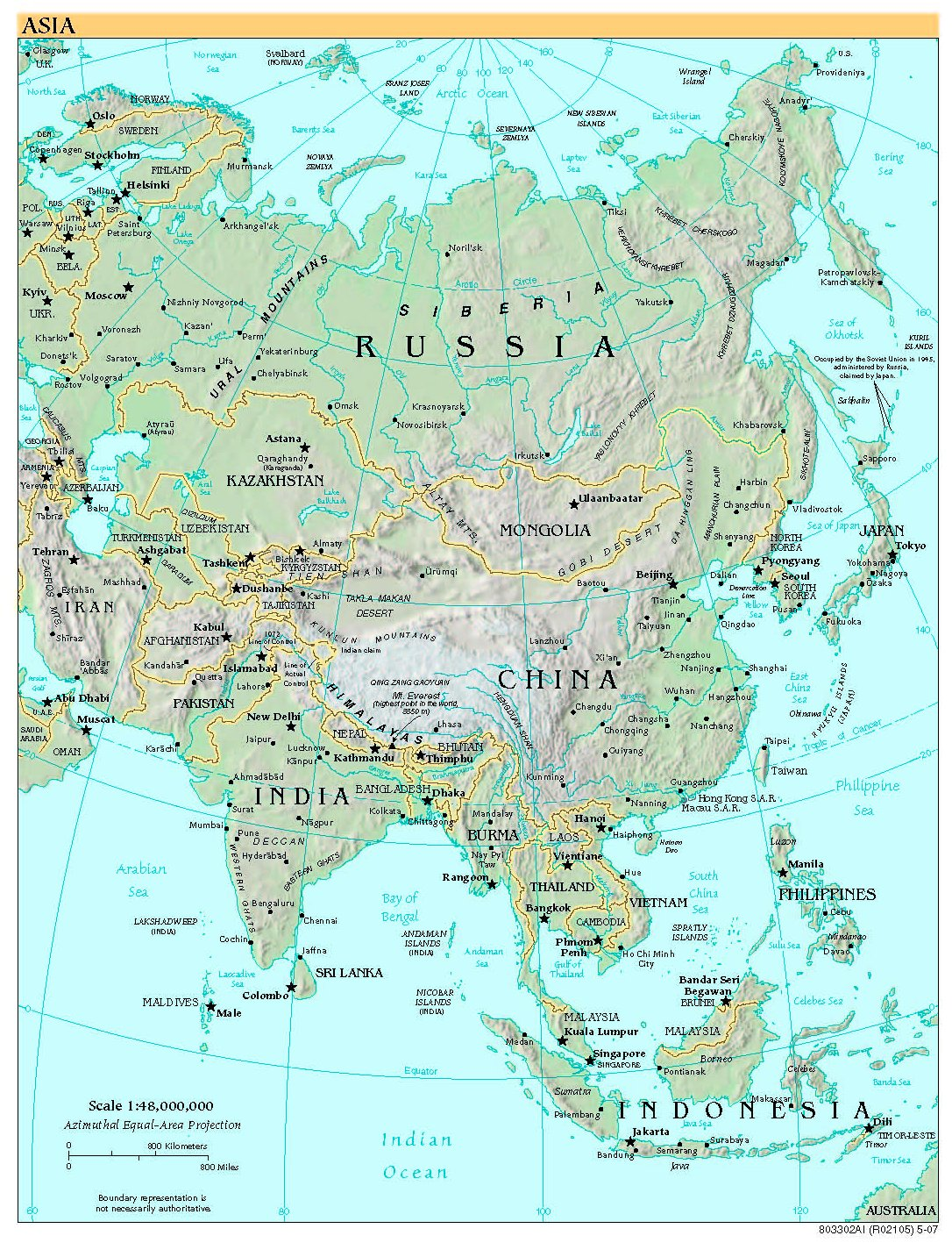 Free High Resolution Map Of Asia