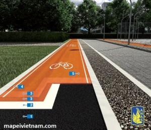 Sàn nhựa tổng hợp cho đường dành cho người đi bộ và xe đạp