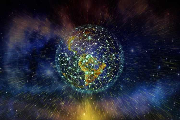 Planète recouvert d'un réseau de connexions