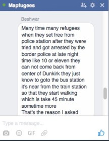 Request from the refugee council for a directions map on facebook (via Beshwar)