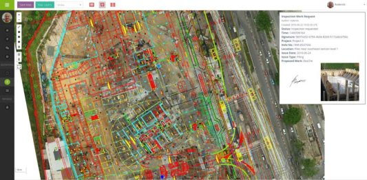 Screenshot of MapGage web dashboard showing floor plans on top of drone map