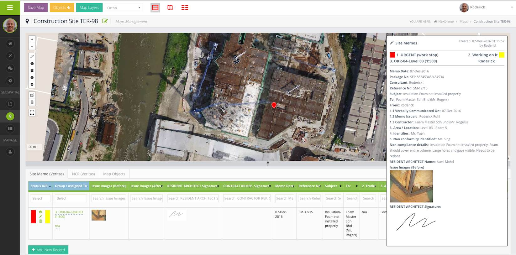 Screenshot of MapGage web dashboard showing construction site drone map