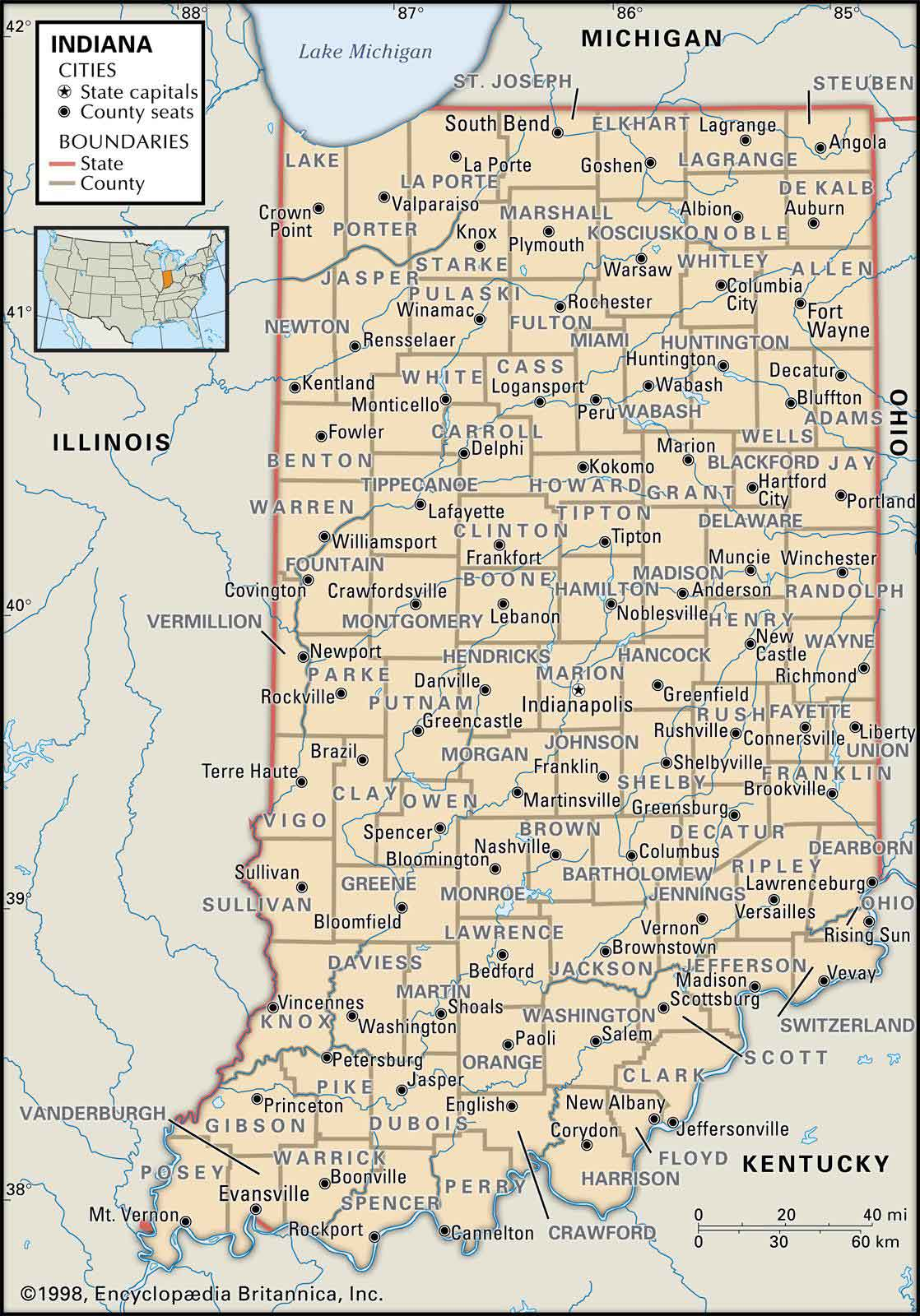 Old Historical City County And State Maps Of Indiana