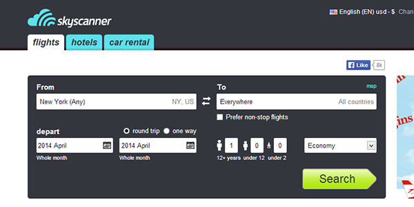 Setting your Skyscanner options.