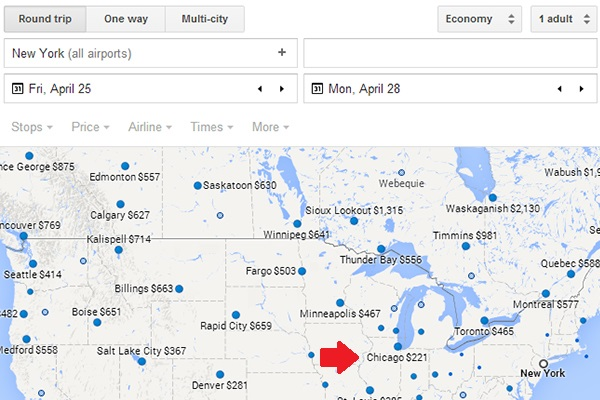 An open-ended search shows flying to Chicago this weekend is pretty cheap.