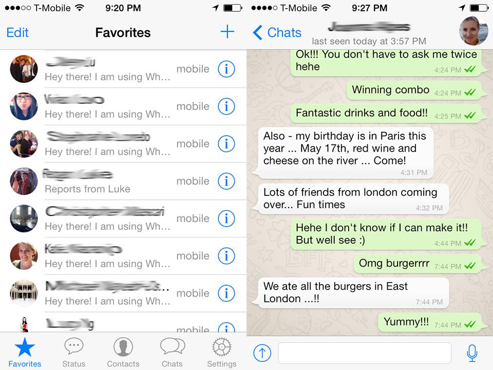 Screenshots of WhatsApp.