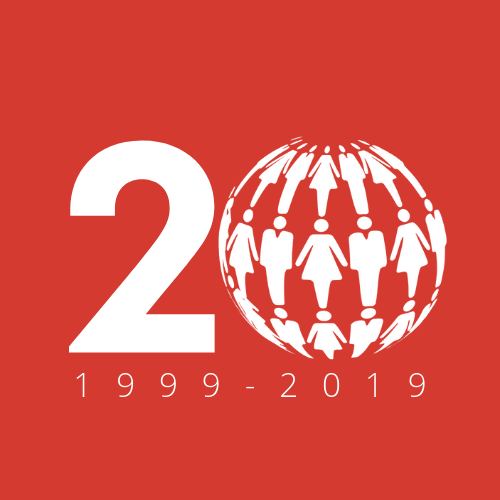 20th Anniversary Logo - White on Red