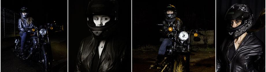photos de motarde, femme avec son casque et sa moto