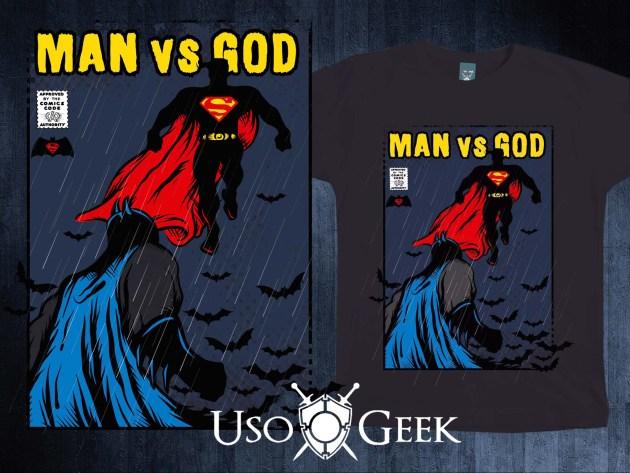 """Arte da camiseta mostra em posições antagônicas o Batman e o Superman, com os dizeres """"Man vs God"""""""