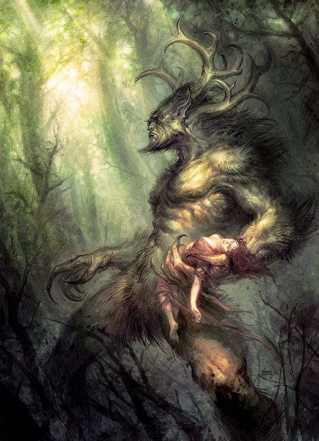 Um grande deus cornudo anda em uma floresta carregando em uma mão uma mulher desacordada