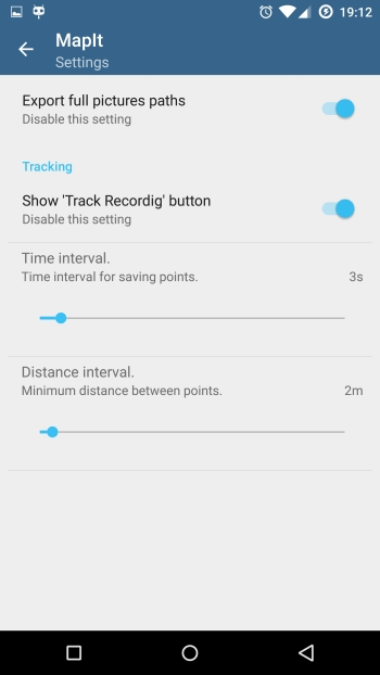 Miscellaneous settings - Tracking