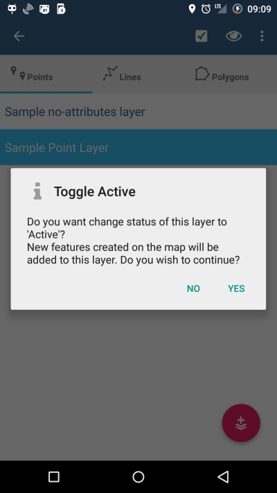 Switch Active Layer warning