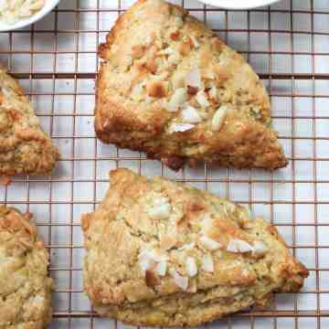 pineapple coconut scones on cooling rack