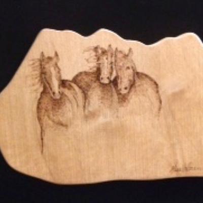 Pyrograhpy three horses