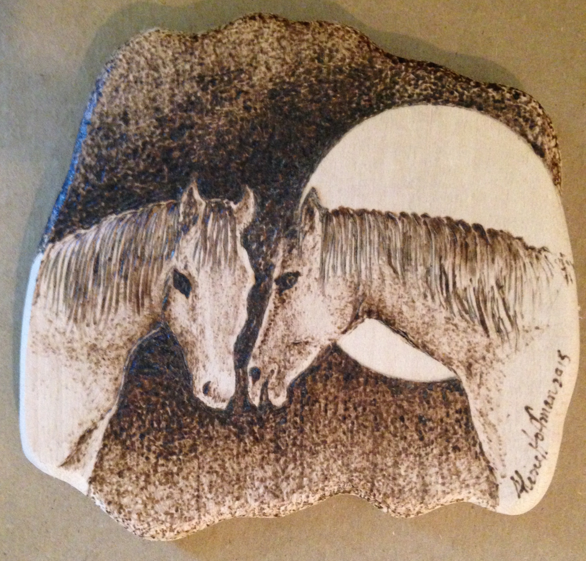 Pyrography Two Horses