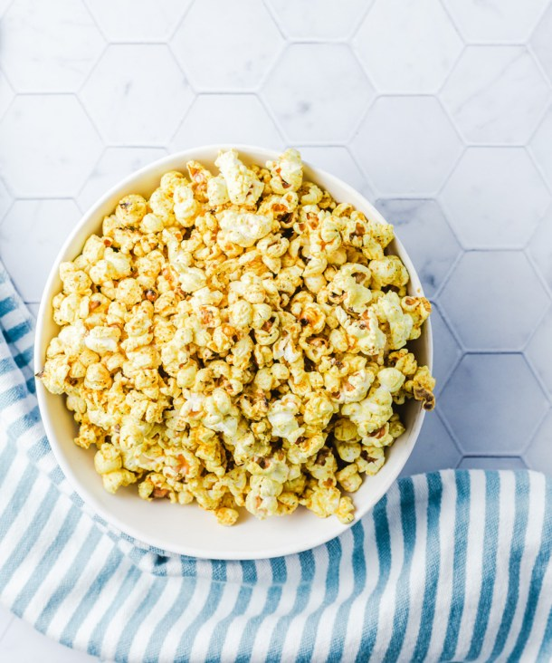 bowl of popcorn from the top