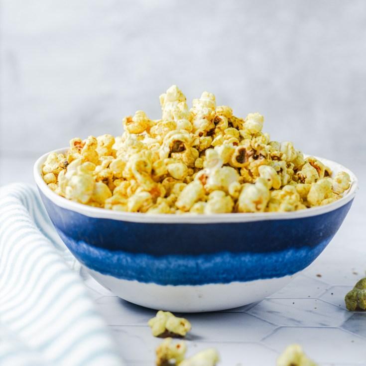 turmeric ghee popcorn in a bowl recipe image