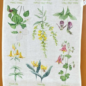 Canada gift Ontario Wild Flowers 100% natural linen tea towel