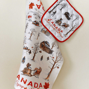 Canada Gift Set Linen Tea towel Potholder Maple Syrup theme