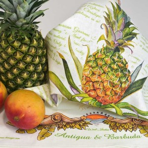 Luxury Linen Tea-towel Antigua Black Pineapple