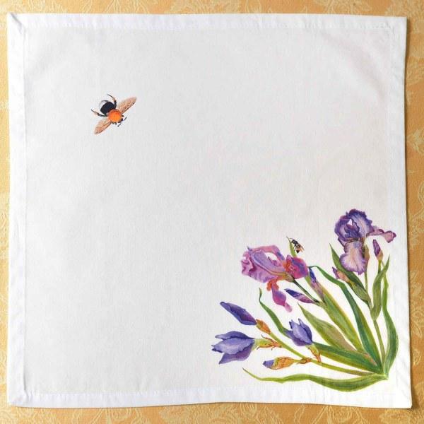 Linen Napkin Blue Irises Bees
