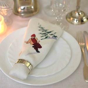 Linen Dinner Napkin set up on the white plate Christmas dinner table