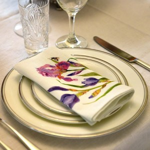 Linen Dinner Napkins Iris and Bees table setting in linen