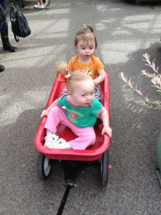 Girls in the wagon at the nursery.