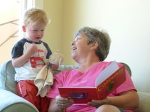 """Nana and Jamie reading a new favorite, """"Courduroy"""""""