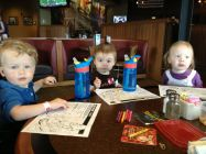 Coloring at a restaurant lunch.